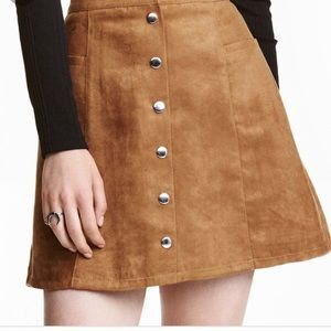 NWT Divided H&M Faux Suede Button A Line Skirt